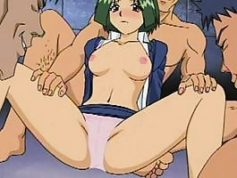 Teen anime slut chokes on a huge cock and makes a cum mess